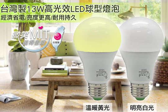 每入只要95元起,即可享有MIT 13W 高光效電精靈全周光LED球燈泡〈任選6入/12入/20入/30入/40入/50入/100入,款式可選:黃光/白光〉