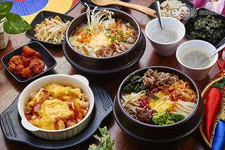 只要385元起,即可享有【韓金閣韓式料理】A.道地韓式雙人分享餐 / B.澎湃四人套餐