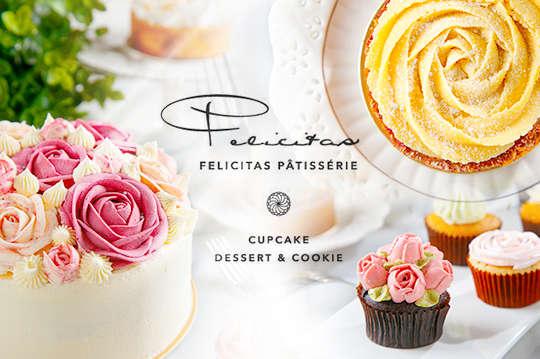 只要199元,即可享有【Felicitas Pâtissérie】平假日皆可抵用300元消費金額〈特別推薦:雞尾酒杯子蛋糕、捧花蛋糕、藍莓塔、蛋白檸檬塔、鹽之花可可酥餅、各式精選飲品〉