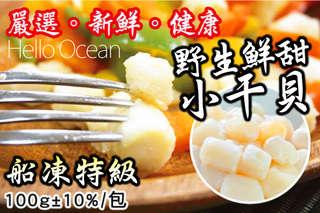 每包只要99元起,即可享有【Hello Ocean】船凍特級野生鮮甜小干貝〈3包/6包/10包/18包/30包〉