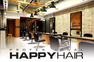 只要699元起,即可享有【HAPPYHAIR(北屯店)、(台中學士店)】A.專業設計剪髮+AG質感護髮 / B.伊聖詩雙效奇肌HAIR SPA(含洗髮) / C.專業燙髮/設計染髮