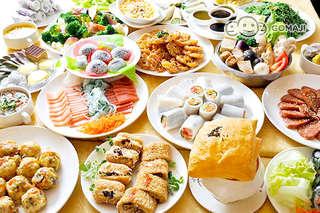 只要299元,即可享有【明德素食園】單人歐式自助Buffet吃到飽〈特別推薦:現煮小火鍋、麵食、酥皮濃湯、各式健康蔬食、義式焗烤、無蛋蛋糕、水果〉