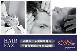 只要599元起,即可享有【HAIR FAX 頭皮概念館】A.毛囊淨化活氧調理課程 / B.毛囊激菁華深度飽氧調理