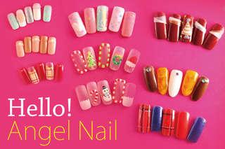 只要299元起,即可享有【Hello!Angel Nail】A.貼紙貼鑽手部凝膠造型 / B.日雜設