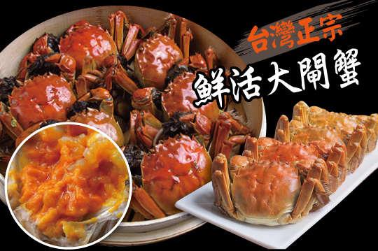 每隻只要128元起,即可享有台灣正宗鮮活大閘蟹(4兩)〈4隻/8隻/12隻/20隻/30隻/40隻/80隻〉