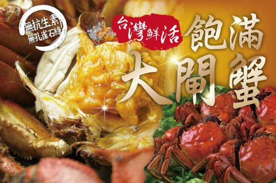 每隻只要207元起,即可享有台灣鮮活飽滿大閘蟹(5兩)〈4隻/8隻/12隻/20隻/30隻/40隻〉