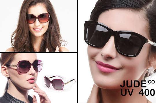 只要399元起(含運費),即可享有【JUDE CO】名模最愛UV400太陽眼鏡〈一入/三入/五入,款式可選:A小香風/B來自星星/C棕水鑽/D百搭黑/E蝴蝶結款(黑)/F紫色鎖鍊款〉
