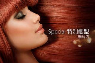 只要299元起,即可享有【Special 特別髮型(雅絲店)】A.時尚造型洗剪髮 / B.亮麗東區質感染髮