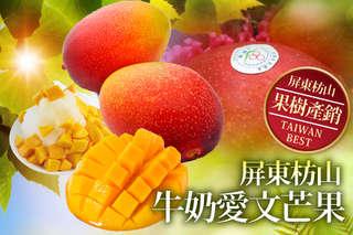只要499元起,即可享有果樹產銷55班-吉園圃安全蔬果認證-屏東枋山牛奶愛文芒果2.5公斤