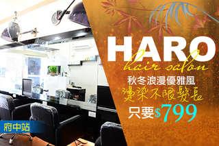 只要349元起,即可享有【HARO hair salon】A.三享受!專業剪髮+頭皮調理+柔順護髮 / B.浪漫女神造型燙髮(不限髮長) / C.百變女王質感染髮(不限髮長)