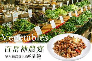 只要420元,即可享有【百岳神農宴】單人蔬食養生鍋吃到飽〈特別推薦:健康蔬食區、養生熟食區、火鍋料區、新鮮切肉區、甜點區、沙拉區等〉