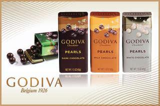 只要199元起(滿四份免運費),即可享有【GODIVA】珍珠鐵盒系列-巧克力球〈一盒/四盒/八盒,口