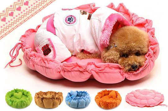 只要168元起,即可享有柔軟抽繩寵物墊兩用窩小號/大號等組合,顏色可選:天藍/粉紅/亮橘/蘋果綠/棕