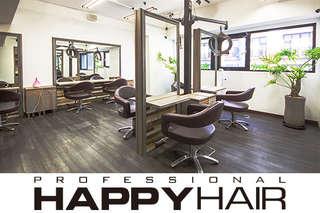 只要499元起,即可享有【HAPPYHAIR(新北復興店)】A.加拿大角蛋白迷你護髮+設計剪髮 / B.伊聖詩雙效奇肌HAIR SPA / C.專業質感染/燙髮+加拿大角蛋白迷你護髮