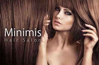 只要388元起,即可享有【Minimis Hair Salon】A.Minimis輕質感創意造型洗剪專案 / B.資生堂SHISEIDO頭皮淨化去角質+資生堂SHISEIDO新水質感專業護髮 / C.Minimis 精緻質感西班牙Lakme染髮專案(精緻局部挑染/單色全染 二選一)