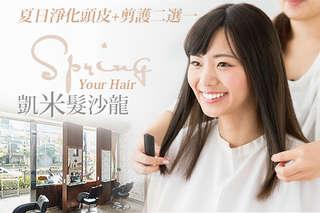 只要399元起,即可享有【凱米髮沙龍】A.夏日淨化頭皮+剪/護二選一 / B.夏日變髮/變色專案