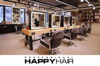 只要499元起,即可享有【HAPPYHAIR(伊通店)】A.時尚造型剪髮 / B.日系時尚染髮 / C.日系質感冷燙