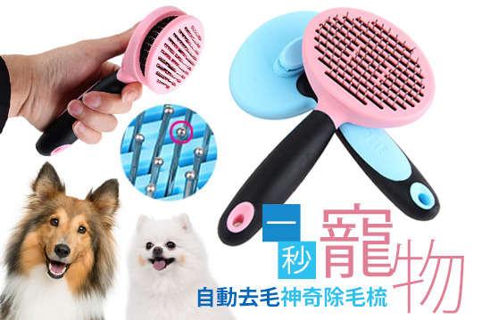 每入只要169元起,即可享有一秒按鍵自動去毛寵物神奇除毛梳〈一入/二入/四入/六入/八入,顏色可選:藍色/粉色〉