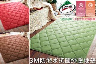 每入只要899元起,即可享有台灣製3M防潑水 x 日本大和防螨抗菌雙認證舒壓地墊〈一入/二入/三入,顏色可選:玫瑰紅/大地咖/淺青綠〉