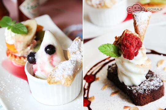 德国巧克力蛋糕佐冰淇淋/香草卡士达冰淇淋水果塔&g