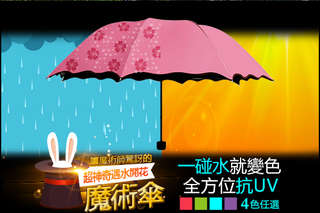 每入只要99元起,即可享有抗UV荷葉邊遇水開花變色折疊雨傘〈1入/2入/4入/6入/8入/10入/12入,顏色可選:螢光綠/玫瑰粉/夢幻藍/高貴紫〉