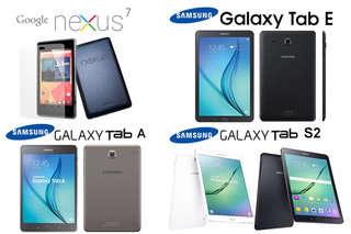 只要2280元起,即可享有【Google】Nexus 7 wifi版7吋/【Samsung】Galaxy Tab (E 8吋/A 8吋/S2 9.7吋)平板電腦等組合,ABC方案贈鋼化膜1入,B方案另..