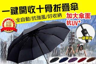 每入只要195元起,即可享有105CM十骨抗強風加大開合超防風全自動雨傘〈1入/2入/4入/8入/12入/18入/24入/36入,顏色可選:紫色/咖啡/藍色/黑色/紅色〉