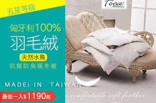 每入只要1190元起,即可享有台灣製五星等級-匈牙利100%天然水鳥羽毛絨抗菌防臭暖冬被〈一入/二入〉